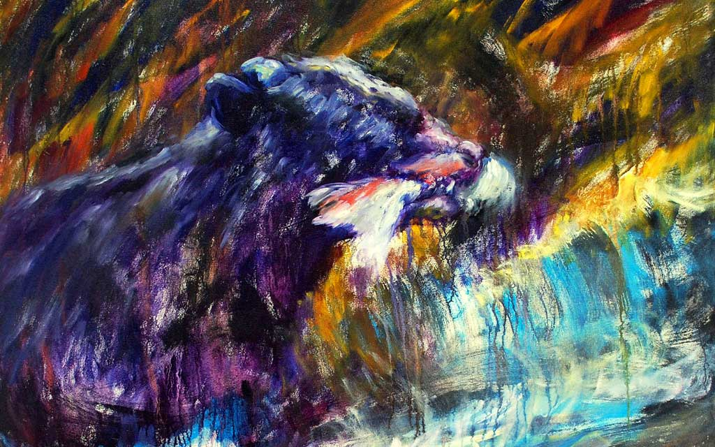 Bear with fish, 36 x 48, oil painting by Susan Falk
