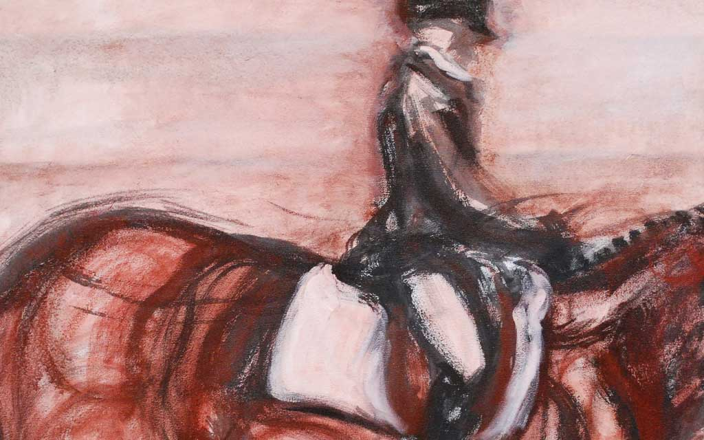 Ride series 2, 36 x 36, oil painting by Susan Falk