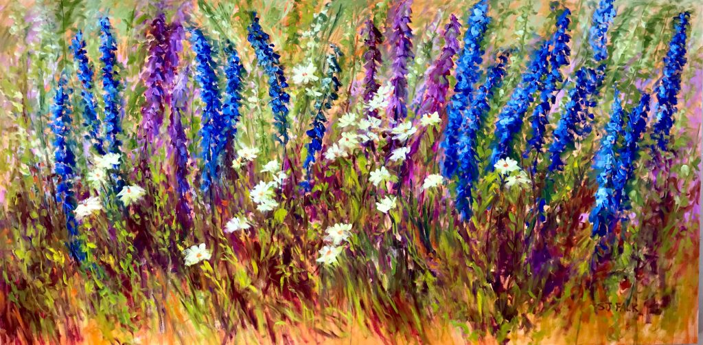 Wild Garden with Delphiniums, 4' x 8', oil painting by Susan Falk