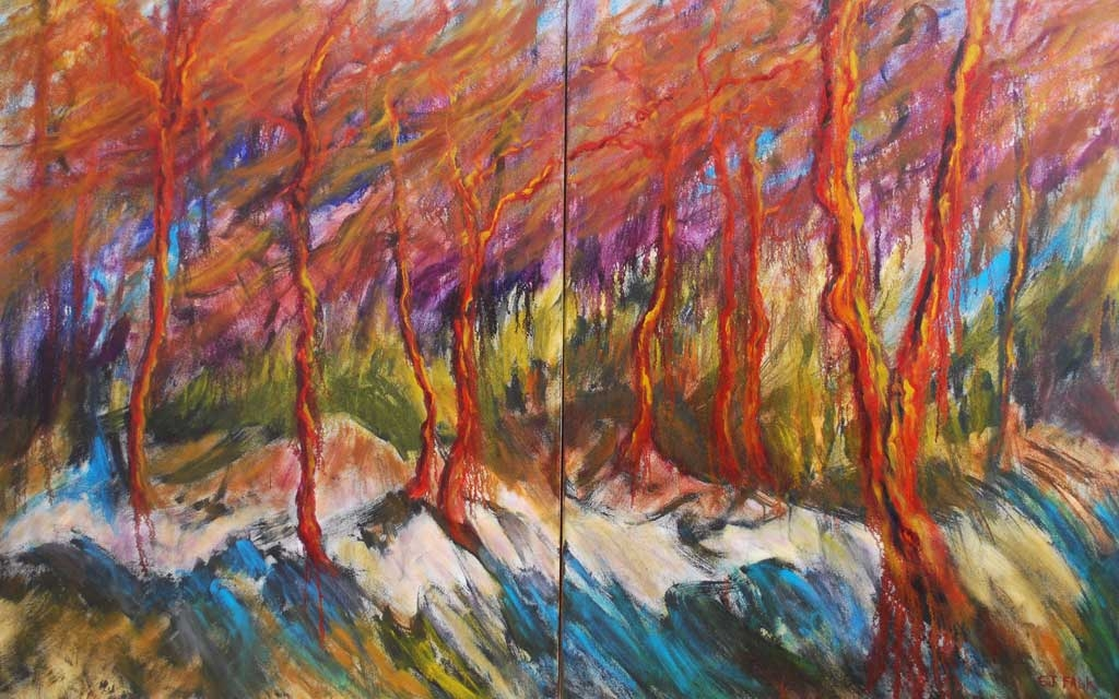 Arbutus Ridge, diptych 58 x 92, oil painting by Susan Falk