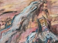 Lascaux region Wedding gown, cerulean blue taffeta 72 x 60 oil painting by Susan Falk