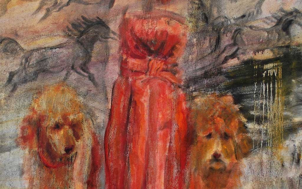 Lascaux region Red taffeta cocktail dress with matching french poodles 58 x 46 oil painting by Susan Falk