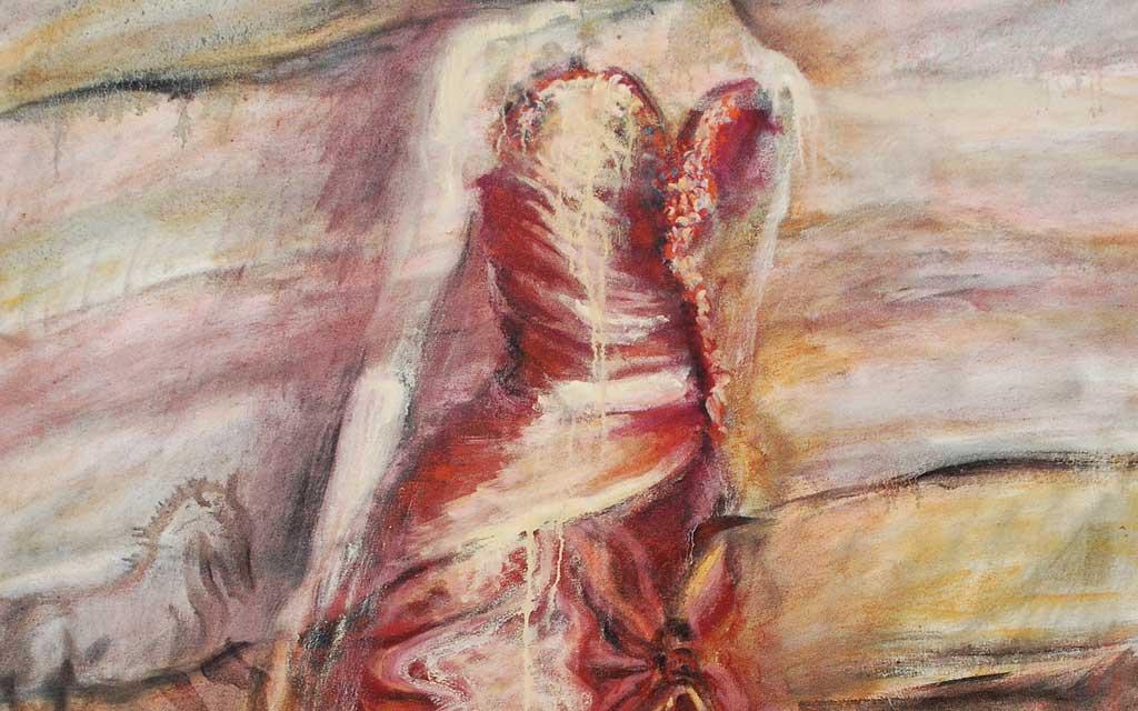 Lascaux region dropped waist ball gown 58 x 46 oil painting by Susan Falk