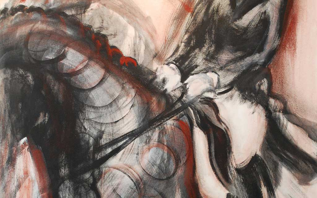 Ride series, 15 flying changes of leg, 46 x 58 oil painting by Susan Falk