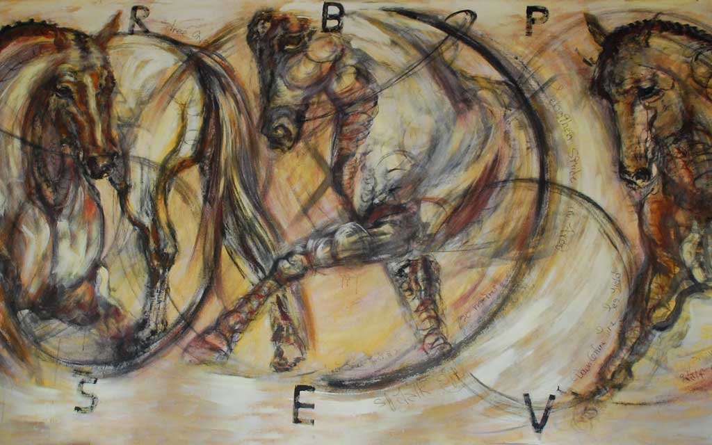 Ride series, first level, 72 x 180, Acrylic painting by Susan Falk